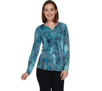 Susan Graver Artisan Printed Liquid Knit Embellished Top - A281174