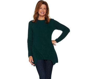 LOGO by Lori Goldstein Crew Neck Sweater with Asymmetric Hem - A282174
