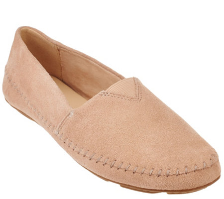 """As Is"" Isaac Mizrahi Live! Suede Moccasins with Stitching"