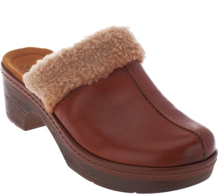 Clarks Leather Clogs with Faux Fur Collar - Preslet Grove