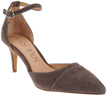 """As Is"" Sole Society Suede Ankle Strap Pumps - Alix - A284074"