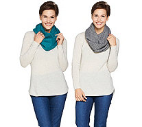 Isaac Mizrahi Live! Set of 2 Knit Infinity Scarves with Gift Boxes - A284174