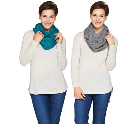 Isaac Mizrahi Live! Set of 2 Knit Infinity Scarves with Gift Boxes