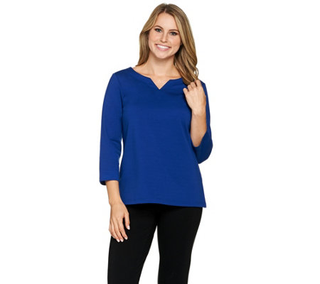 Joan Rivers Wardrobe Builders 3/4 Sleeve Top with Notch Neckline