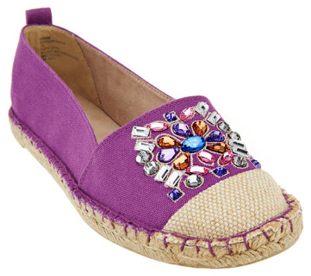 """As Is"" White Mountain Slip-on Espadrille w/ Jewels"