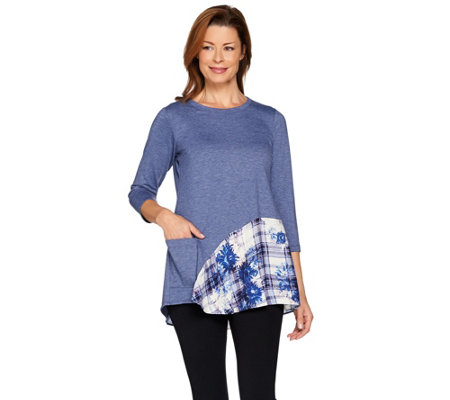 LOGO Lounge by Lori Goldstein French Terry Knit Top with Printed Flounce