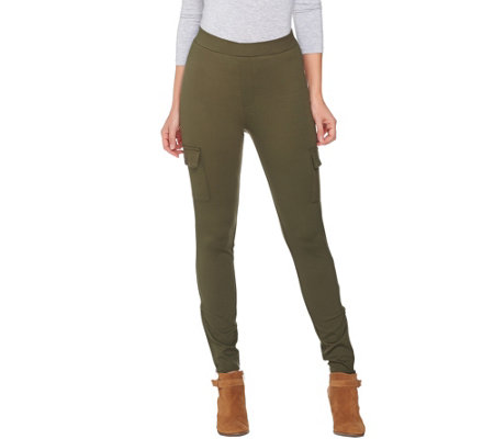 Lisa Rinna Collection Regular Cargo Leggings with Zip Detail