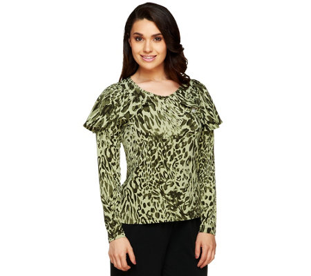 """As Is"" George Simonton Printed Milky Knit Top with Capelet Detail"