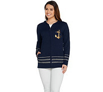 Quacker Factory Zip Front Embellished Knit Cardigan with Pockets - A287074