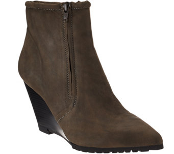"""As Is"" H by Halston Leather Double Zipper Wedge Ankle Boots - Hal - A289874"