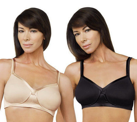 """As Is"" Breezies Set of 2 Full Coverage Wirefree Bras"