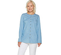Studio by Denim & Co. Stretch Tencel Button Front Shirt - A290174