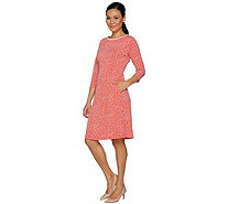 Susan Graver Printed Liquid Knit Elbow Sleeve Dress - A291474