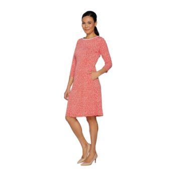 Susan Graver Printed Liquid Knit Elbow Sleeve Dress