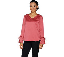 Isaac Mizrahi Live! Tall Cuff Blouse with Ladder Lace Dtl - A295874