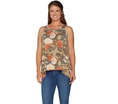 Peace Love World Camo and Floral Printed Tank w/ Asymmetric Hem