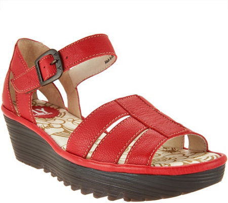 """As Is"" FLY London Leather Triple Strap Wedge Sandals - Rese"