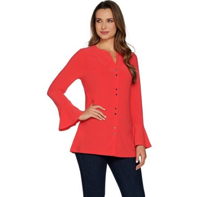 Susan Graver Textured Liquid Knit Button Front Tunic