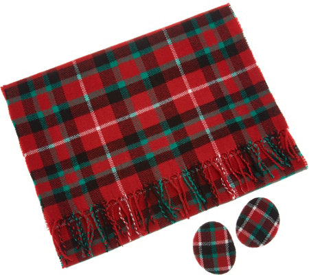 Sprigs Fleece Plaid Scarf and Earbag Set