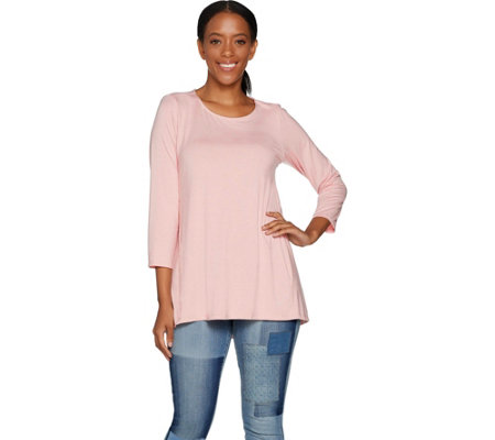 Martha Stewart Scoop Neck 3/4 Sleeve Hi-Low Hem Knit Tunic