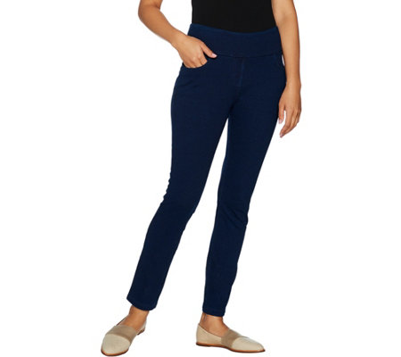 """As Is"" Denim & Co. Petite Stretch Ankle Pants With Pockets"