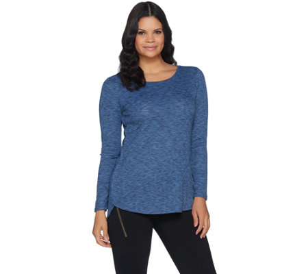 """As Is"" Lisa Rinna Collection Tulip Hem Long Sleeve Knit Top"