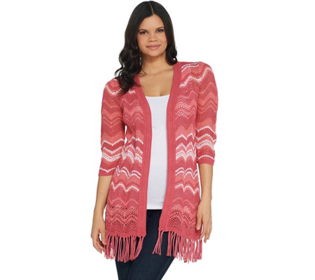 Isaac Mizrahi Live! TRUE DENIM Chevron Knit Cardigan