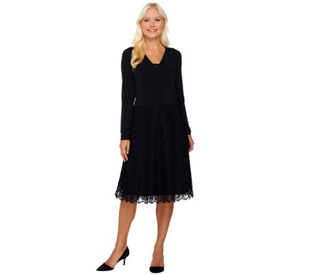 """As Is"" Dennis Basso Knit Faux Wrap Dress with Lace Skirt"