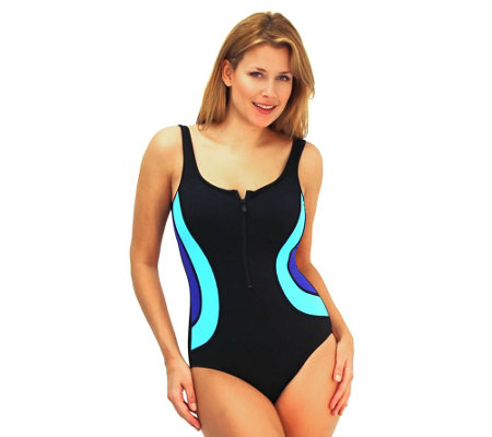 Fit 4 Ur Tummy Color Blocks Zipper Tank Swimsuit