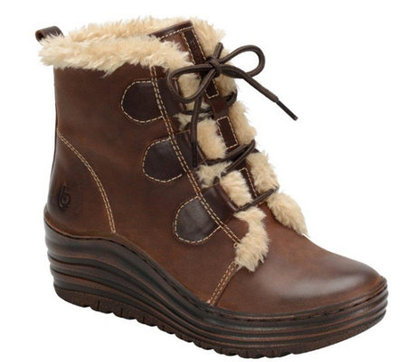 Bionica Leather and Faux Fur Lace-up Bootie - Genova