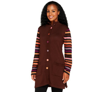 Bob Mackie's Striped Sleeve Multi-color Sweater Jacket - A68174