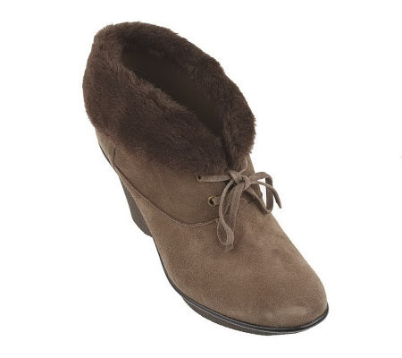 B. Makowsky Suede Lace-up Ankle Boots with Faux Fur Trim