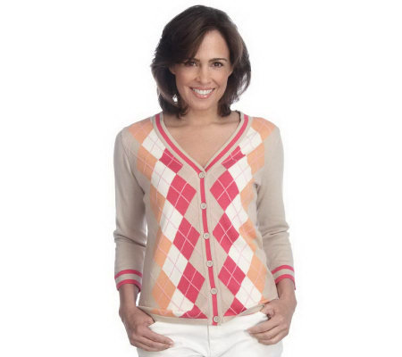Liz Claiborne New York Argyle V-Neck Button Front Cardigan