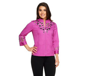 Bob Mackie's Zip Front Cotton Jacket with Grommets - A214075