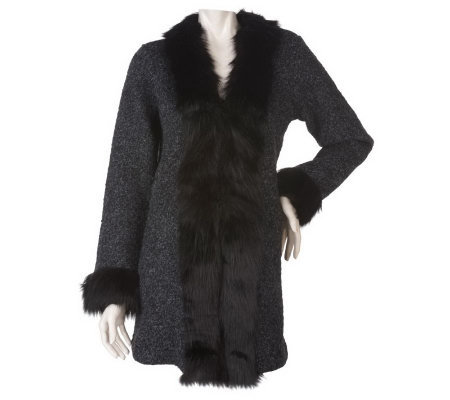 Dennis Basso Wool Blend Sweater Coat with Faux Fur Trim Detail