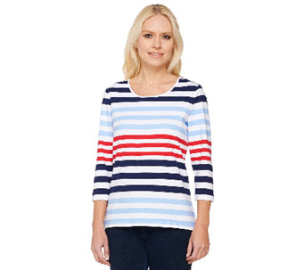 Denim & Co. Perfect Jersey 3/4 Sleeve Color-Block Scoop Neck Top - A222175