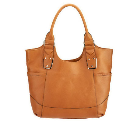 B. Makowsky Glove Leather Large Tote Bag with Chevron Strap Detail
