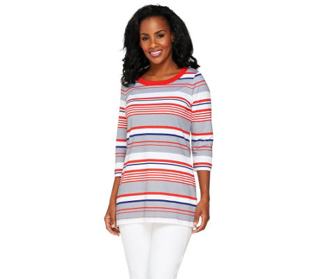 Denim & Co. 3/4 Sleeve Striped Knit Tunic with Side Slits
