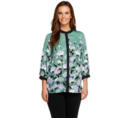 Bob Mackie's 3/4 Sleeve Placement Print Button Front Blouse