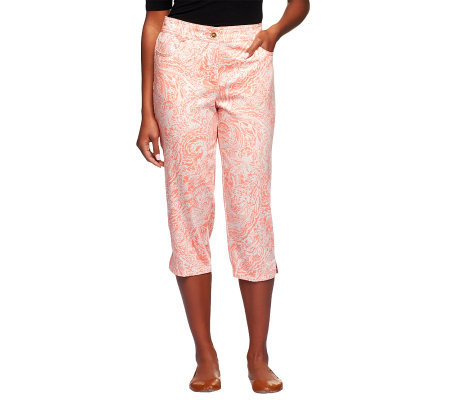 Susan Graver Printed Stretch Cotton Sateen Front Zip Capri Pants