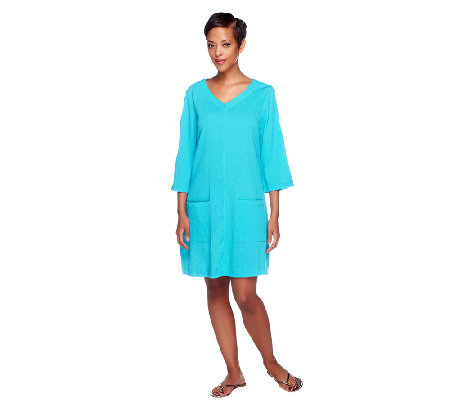 Denim & Co. Beach Gauze Cold Shoulder Cover-Up /Tunic