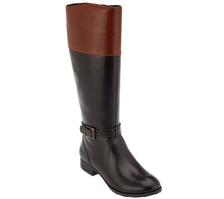 Isaac Mizrahi Live! Two-Tone Leather Riding Boots - Page 1 — QVC.com