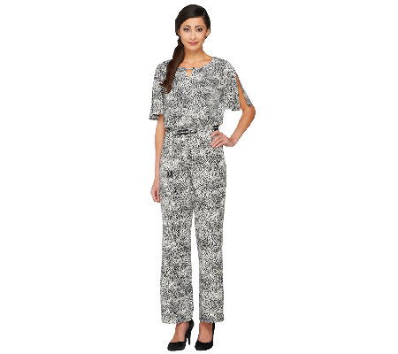 Susan Graver Liquid Knit Elbow Sleeve Jumpsuit with Keyhole Detail