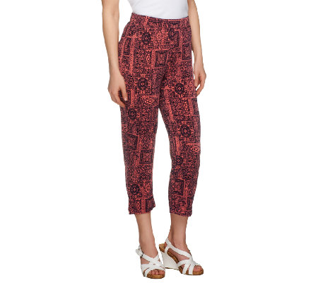 Susan Graver Printed Liquid Knit Regular Crop Pants