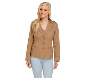 Linea by Louis Dell'Olio Button Front Cotton Sateen Jacket - A254575