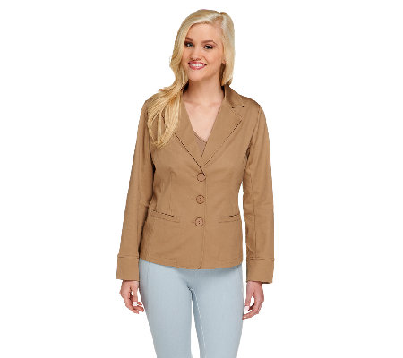 Linea by Louis Dell'Olio Button Front Cotton Sateen Jacket