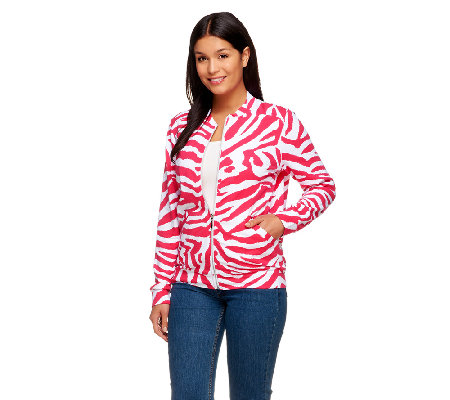 Susan Graver Weekend Printed French Terry Long Sleeve Bomber Jacket