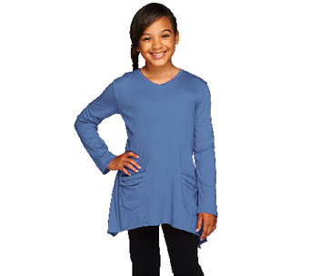 LOGO Littles by Lori Goldstein Long Sleeve V-Neck Top with Pockets - A255475