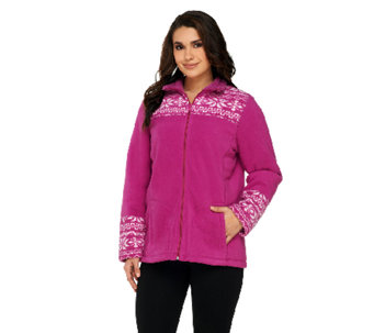 Denim & Co. Fleece Nordic Print Jacket with Sherpa - A259175