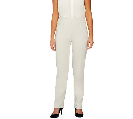 Susan Graver Petite Milano Knit Straight Leg Pull-On Pants